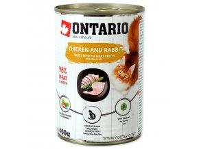 Konzerva ONTARIO Cat kuřecí, králík, lososový olej 400g