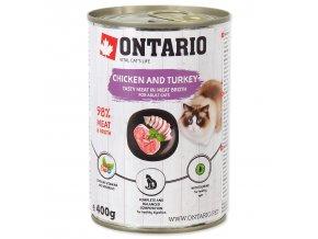 Konzerva ONTARIO Cat kuřecí, krůta, lososový olej 400g