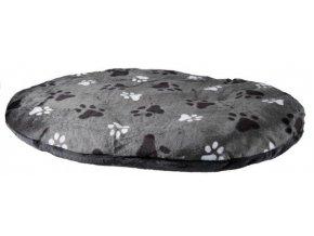 Oválný polštář GINO šedý s packami 80 x 55 cm