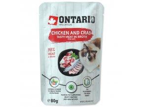 Kapsička ONTARIO Cat Chicken and Crab in Broth s kuřecím masem a krabem ve vývaru 80g