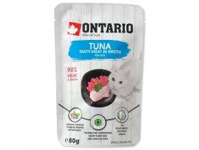 Kapsička ONTARIO Cat Tuna in Broth s tuňákem a kuřecím masem ve vývaru 80g