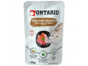 Kapsička ONTARIO Cat Tuna and Salmon in Broth s tuňákem a lososem ve vývaru 80g