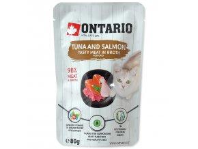 Kapsička ONTARIO Cat Tuna and Salmon in Broth s tuňákem a lososem ve vývaru 80g