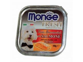 MONGE FRESH - paštika a kousky s lososem 100 g pro psy
