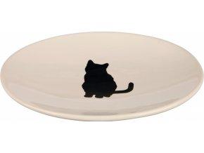Keramická miska s černou kočkou, mělká 18x15 cm bílá