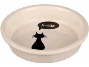 Keramická miska s černou kočkou, s okrajem bílá 0,25 l/13 cm