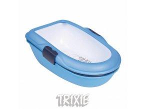 WC BERTO - dvojitá nádoba se sítem 59x39x22 cm,  - tm.šedá/pastel. modrá/granit