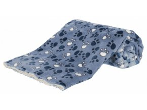 Deka TAMMY 100x70 cm jemný plyš/dlouhý plyš modrá s packami