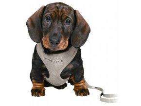 JUNIOR puppy souprava, měkký postroj 26-34cm/10mm + vodítko 2,00m/10mm - světle šedá