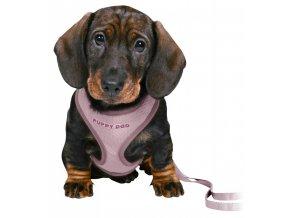 UNIOR puppy souprava, měkký postroj 26-34cm/10mm + vodítko 2,00m/10mm - světle fialová