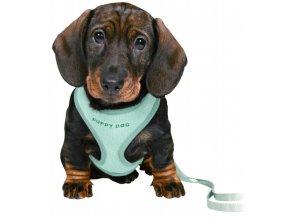JUNIOR puppy souprava, měkký postroj 26-34cm/10mm + vodítko 2,00m/10mm - mátová