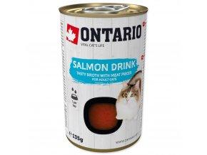 ONTARIO Cat Drink Salmon nápoj s kousky kuřete a lososa 135g