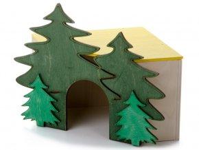 dreveny rohovy domek les