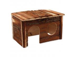 Domek rohový dřevěný s kůrou 30x30x16cm