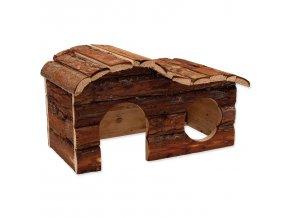 Domek kaskada dřevěný s kůrou 31x19x19cm
