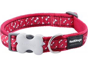 Obojek RD 20 mm x 30-47 cm - Flying Bones Red