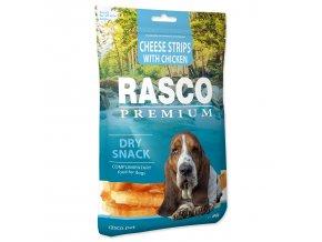 Pochoutka RASCO Premium proužky sýru obalené kuřecím masem 80g