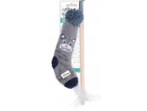 Dřevěná vábnička AFP Sock Cuddler s ponožkou — kočka