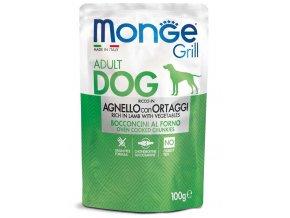 MONGE GRILL kapsička jehněčí se zeleninou pro psy 100g