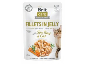 Brit Care Cat kapsička filetky želé s treskou a pstruhem 85g