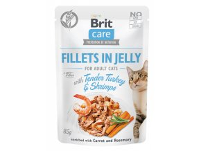 Brit Care Cat kapsička filetky v želé s jemným krůtím a krevetami 85g