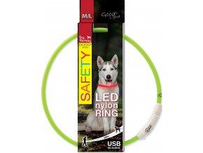 Obojek DOG FANTASY světelný USB zelený 65cm 1ks