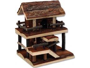 Domek SMALL ANIMALS dvoupatrový dřevěný s kůrou 17 x 15 x 20 cm 1ks