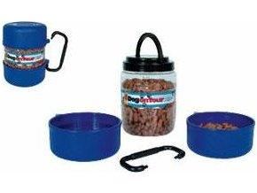 Cestovní plastový zásobník na krmivo 2l + 2 misky á 0,75l