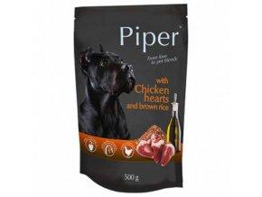 PIPER ADULT kapsička maso v sáčku pro psy kuřecí srdce a hnědá rýže 500g