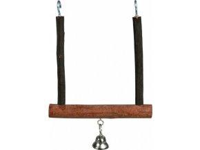 Dřevěná houpačka se zvonkem z přírodního dřeva 12 x 15 cm