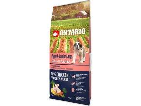 ONTARIO Puppy & Junior Large Chicken & Potatoes & Herbs 12kg