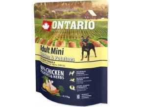 ONTARIO Dog Adult Mini Chicken & Potatoes & Herbs 0,75kg
