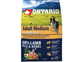 ONTARIO Dog Adult Medium Lamb & Rice 2,25kg