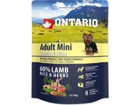 ONTARIO Dog Adult Mini Lamb & Rice 0,75kg