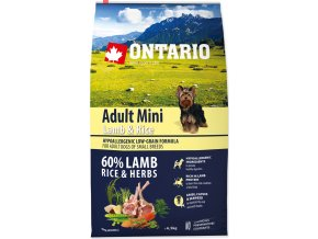 ONTARIO Dog Adult Mini Lamb & Rice 6,5kg