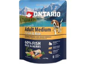 ONTARIO Dog Adult Medium Fish & Rice 0,75kg