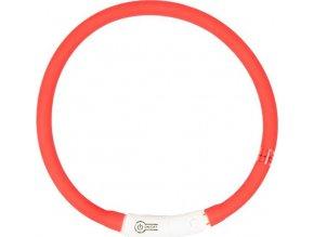 Obojek silikon svítící červený DUVO+ 45 cm