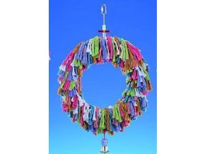 Hračka pták bavl. Kruh s třásněmi a zvonkem  Nobby 40 x 16 cm