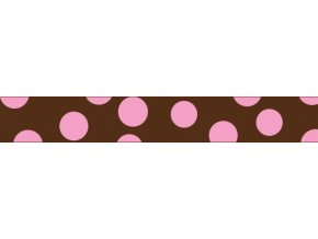 Obojek RD 12 mm x 20-32 cm - Pink Spots on Brown