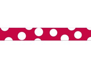 Obojek RD 25 mm x 41-63 cm - White Spots on Red