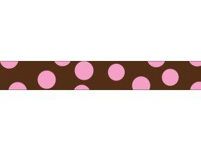 Obojek RD 15 mm x 24-37 cm - Pink Spots on Brown