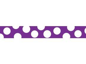 Obojek RD 15 mm x 24-37 cm - White Spots on Purple