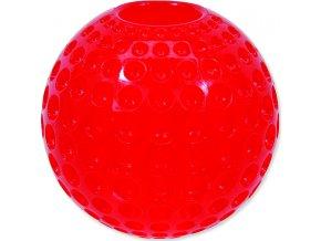 Hračka DOG FANTASY Strong míček gumový s důlky červený 6,3 cm 1ks