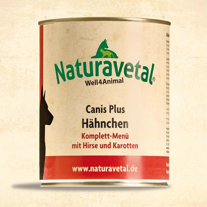 Naturavetal Canis Plus konzerva Kuřecí maso s prosem a karotkou Obsah: 820g