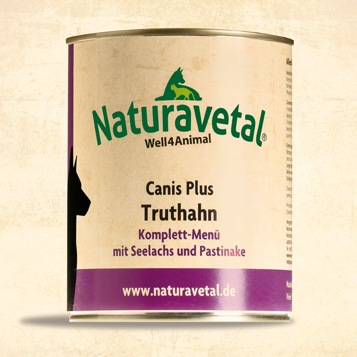 Naturavetal Canis Plus konzerva Krůtí maso s lososem a pastiňákem Obsah: 820g