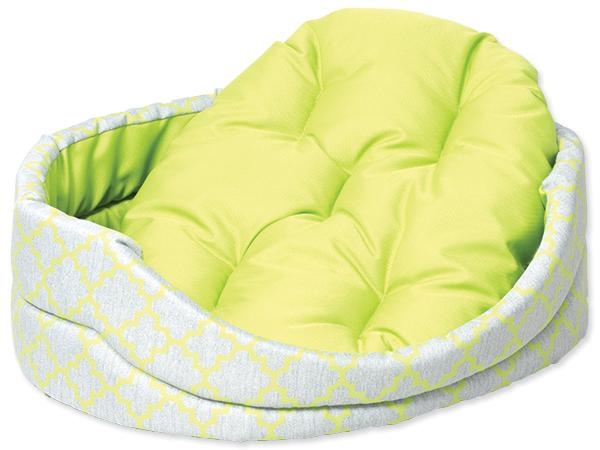 Pelíšek DOG FANTASY ovál s polštářem ornament zelený Rozměry: 43x36x14cm