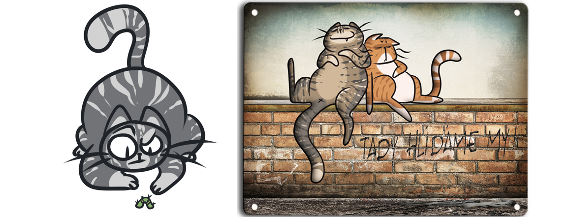 Kočky na zídce - cedulka plechová k venkovnímu použití