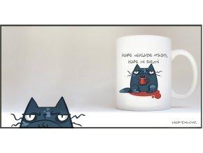 Modrá kočka s hrnkem