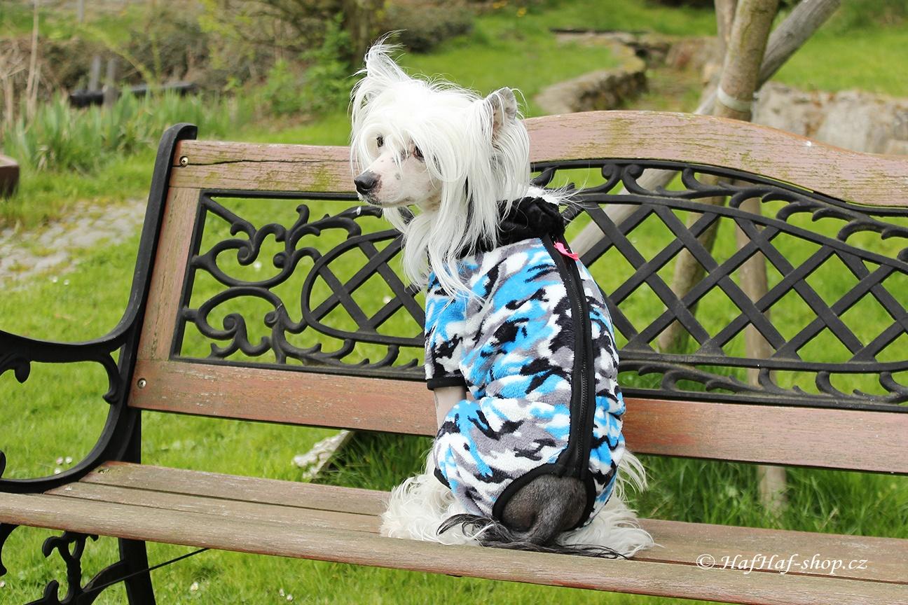 Oblečky pro psy – overal pro psy i fenky, modrý maskáč