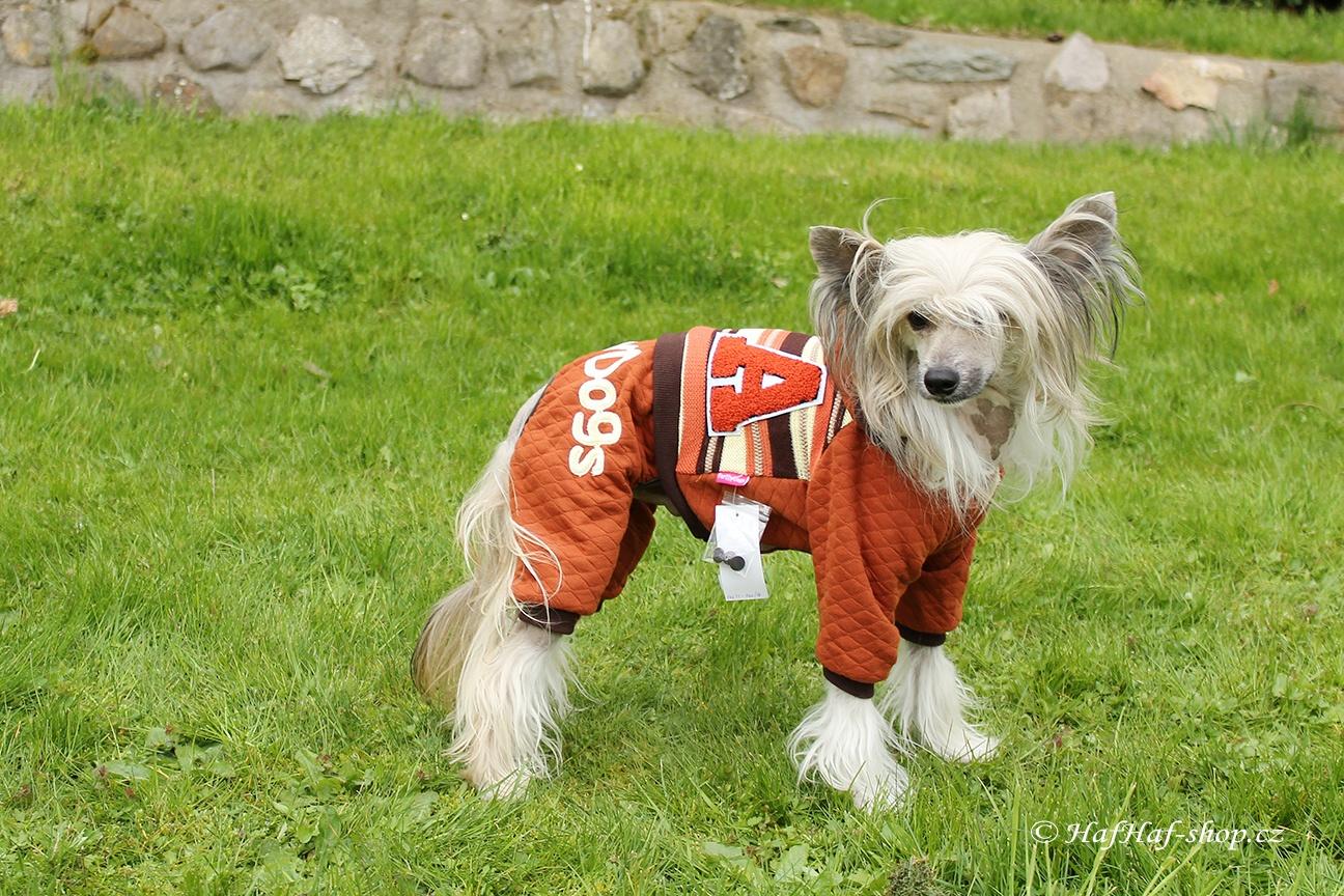 Oblečky pro psy – Úpletový overal For My Dogs, hnědý